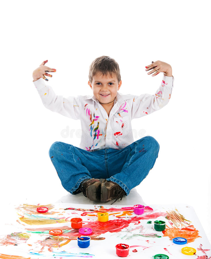 Download Adorable 3 Year Old Boy Covered In Paint Stock Photo - Image: 16660632