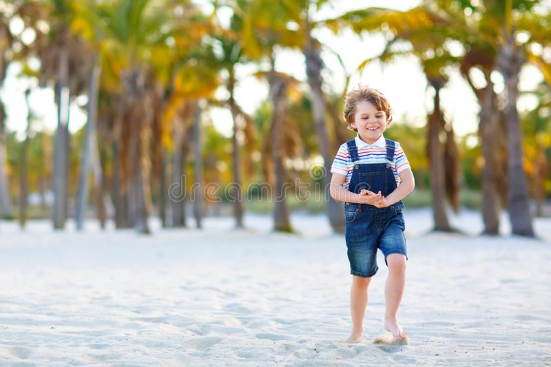 Adorable active little kid boy having fun on Miami beach, Key Biscayne. Happy cute child relaxing, playing with sand and stock images
