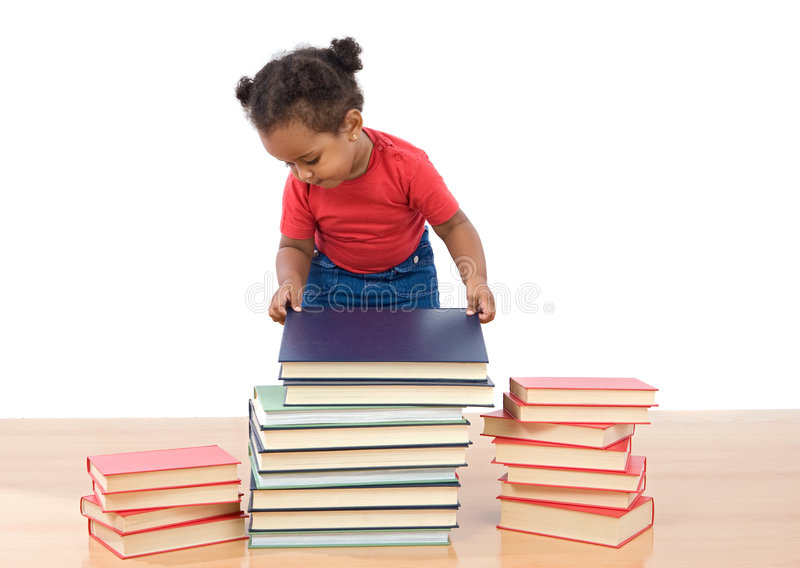 Adorable african baby ordering many books. On a white background stock images