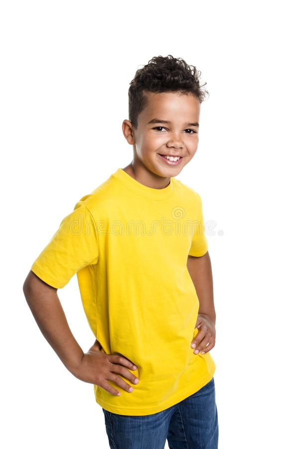 Adorable african boy on studio white background stock photos
