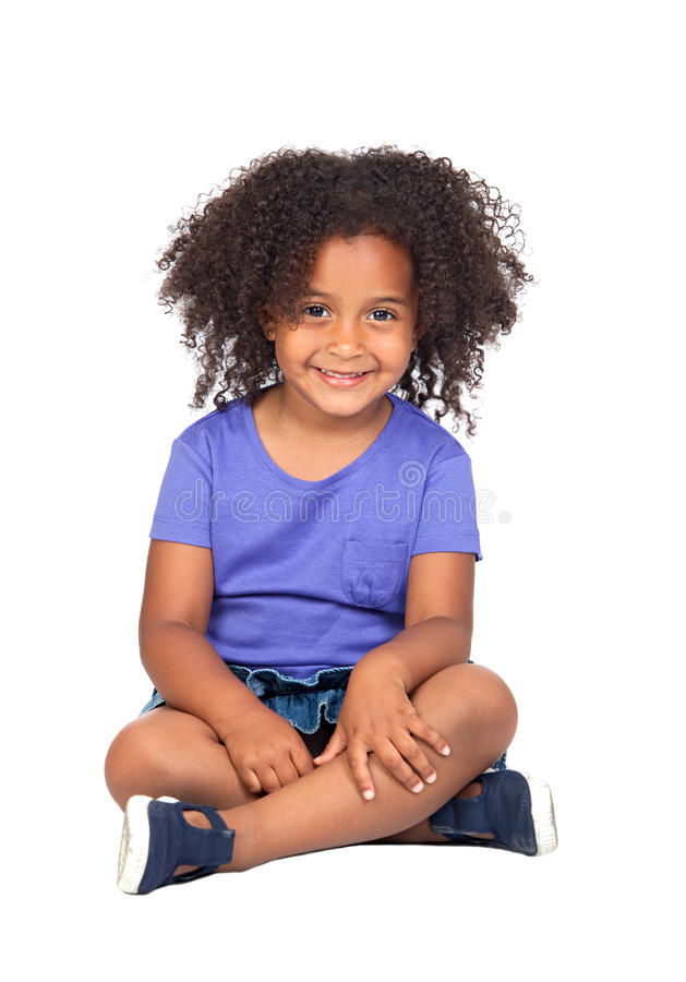 Adorable african little girl with beautiful hairst royalty free stock photos