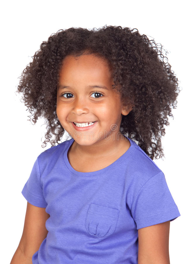 Adorable african little girl with beautiful hairst royalty free stock photo