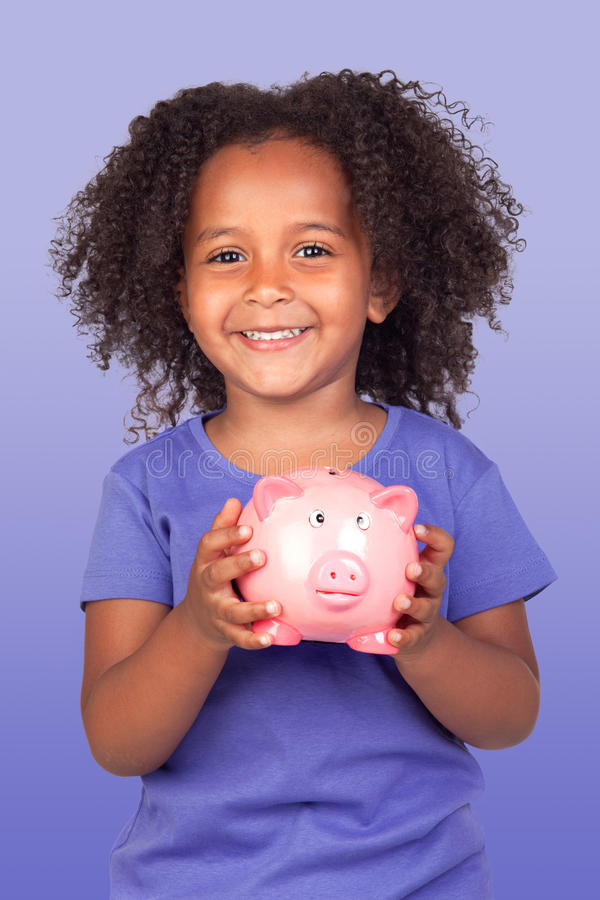 Download Adorable African Little Girl With Piggy-bank Stock Image - Image of beauty, generation: 28629577