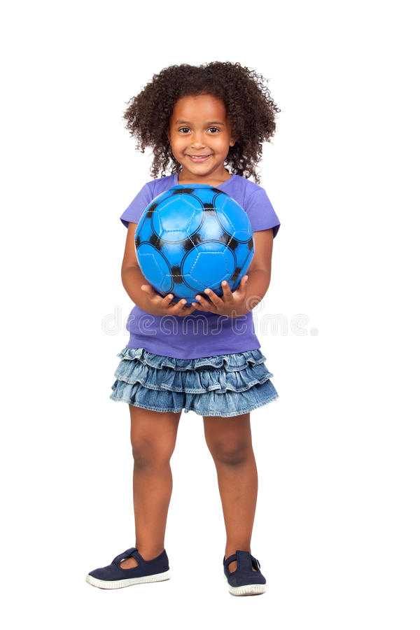 Adorable african little girl with soccer ball stock photo