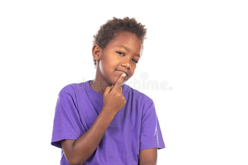 Adorable afroamerican child thinking stock photo
