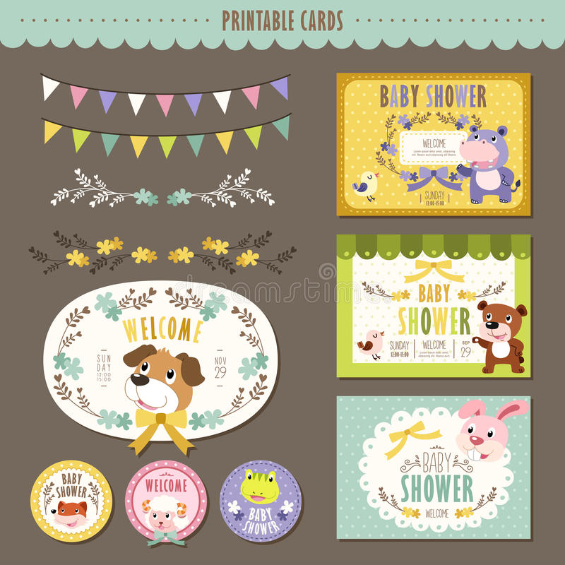 Adorable animal characters baby shower cards royalty free illustration