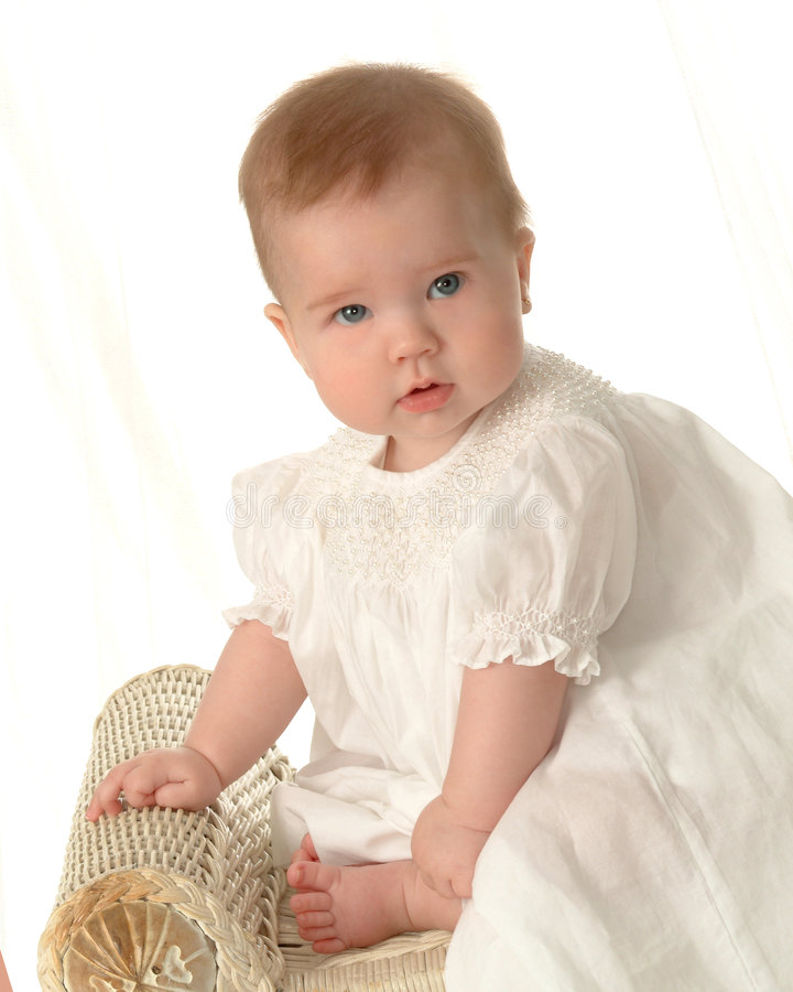 Download Adorable Baby stock photo. Image of serious, white, wicker - 4287244