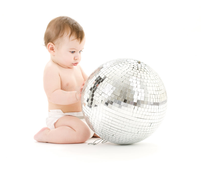 Adorable Baby Boy With Big Disco Ball Royalty Free Stock Photo