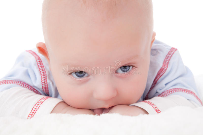 Download Adorable Baby Boy Lying On Fur Blanket Smiling Stock Image - Image: 19562071