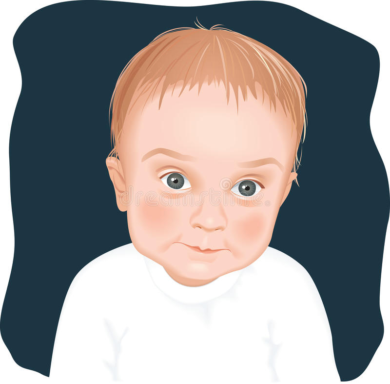 Adorable baby boy portrait vector illustration