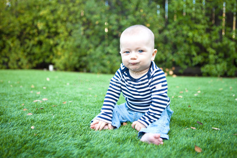 Adorable baby boy sitting on the grass stock photography