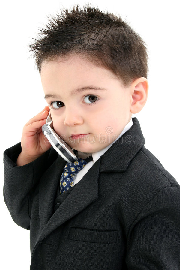 Adorable Baby Boy in Suit on Cellphone royalty free stock photos