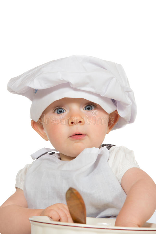 Adorable baby in chefs hat stock photos