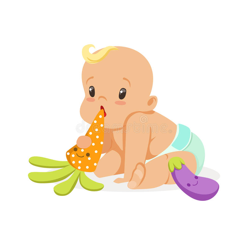Adorable baby in a diaper sitting and playing with teether toys, colorful cartoon character vector Illustration. Isolated on a white background stock illustration