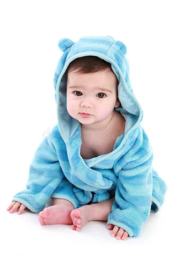 Adorable Baby In Dressing Gown Stock Photography