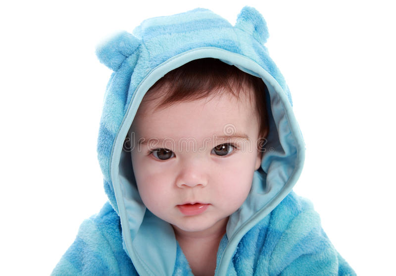 Adorable Baby In Dressing Gown Stock Photo