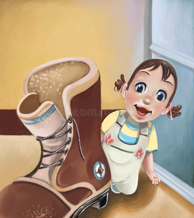 Download Adorable baby exploring stock illustration. Image of shoe - 7929021