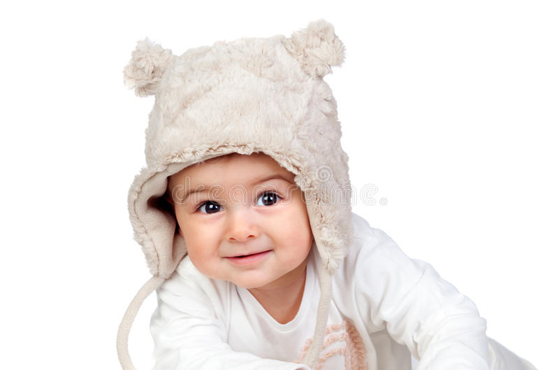 Download Adorable Baby Girl With A Funny Bear Hat Royalty Free Stock Image - Image: 27993866