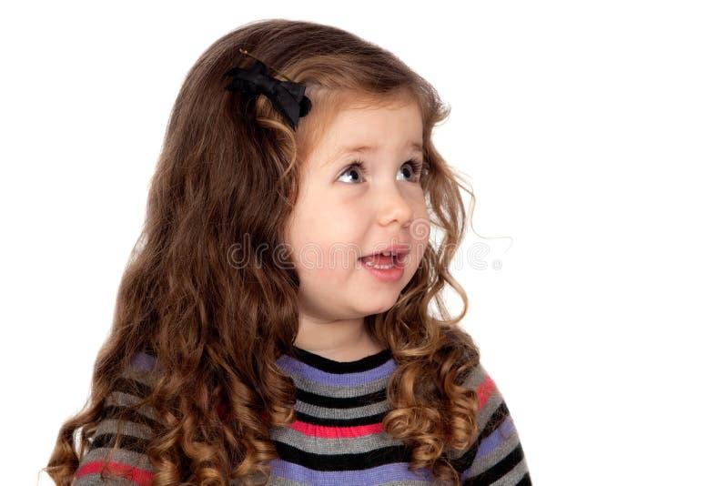 Adorable baby girl talking stock photos