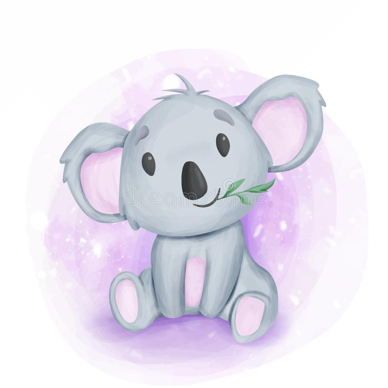 Adorable Baby Koala Sit en Eating Leaf stock illustratie