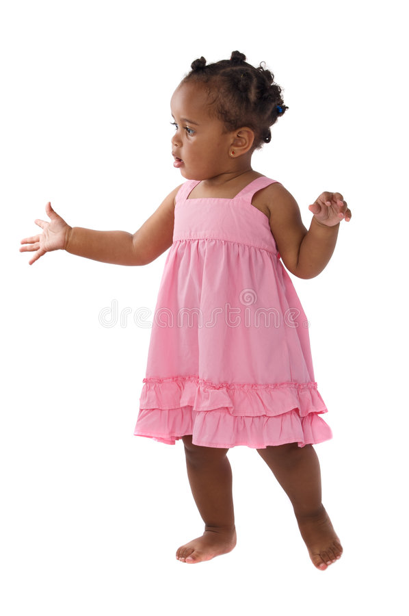 Adorable baby pink dressed royalty free stock image