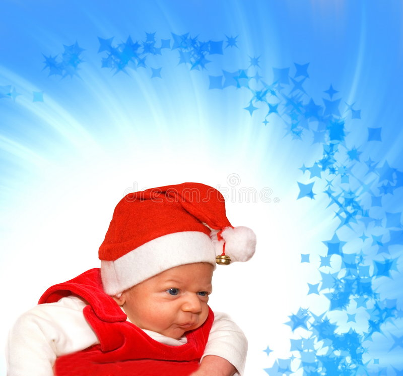 Adorable baby in Santa suit royalty free stock photos