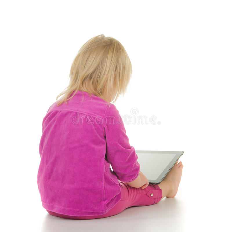 Free Adorable Baby Sit With Tablet Computer On White Royalty Free Stock Images - 23319719