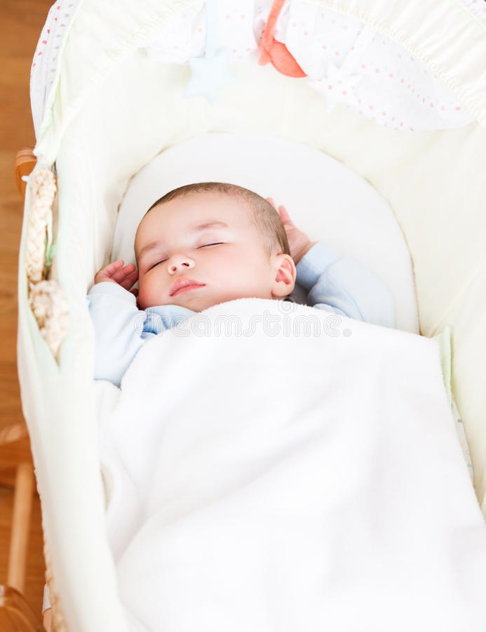Download Adorable Baby Sleeping In His Cradle Stock Photo - Image: 16262734