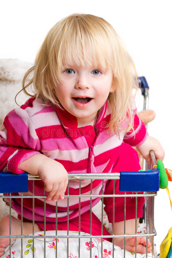 Download Adorable Baby With Toys In Shop Cart Stock Images - Image: 23319704