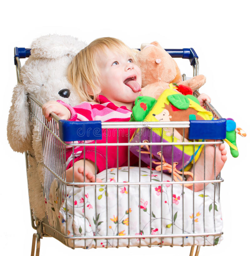 Download Adorable Baby With Toys In Shop Cart Stock Image - Image of basket, advent: 23319705