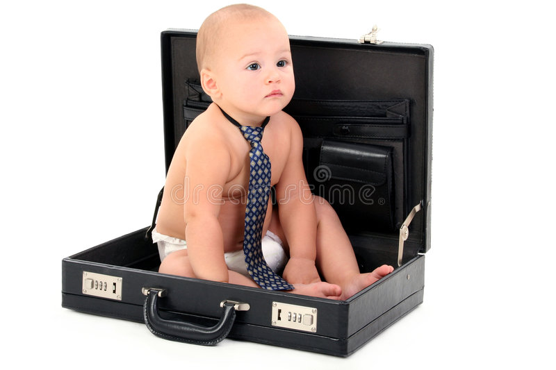 Adorable Baby Wearing Diaper and Tie Sitting in Briefcase. Shot in studio over white with the Canon 20D