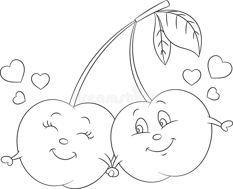 Adorable contour kawaii drawing of a cherry couple, in love, with hearts, for children`s coloring book or Valentine`s Day card vector illustration