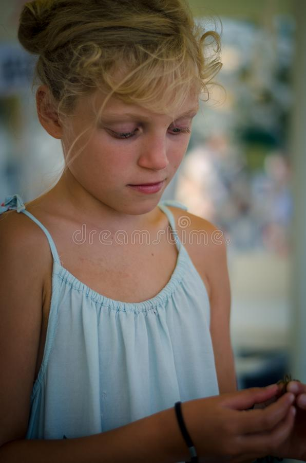 Adorable blond girl portrait stock images