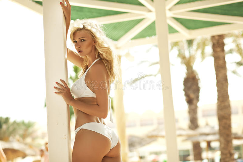 Adorable blonde female model in pose royalty free stock image