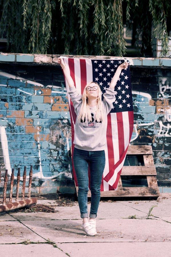 Adorable blonde girl posing stock image