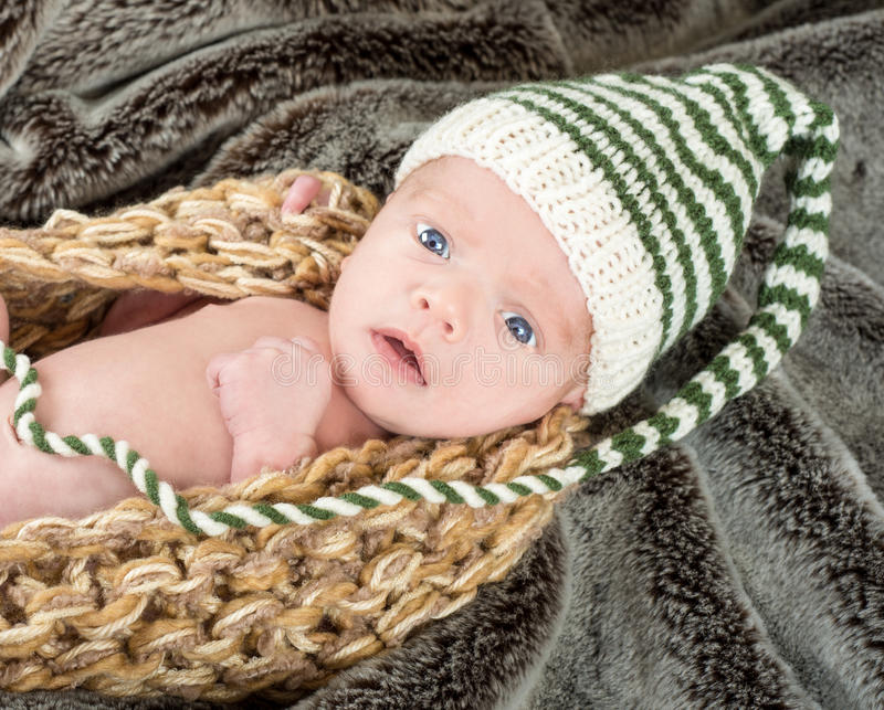 Adorable blue eyed newborn in a knit basket with a green and white knit cap royalty free stock photos