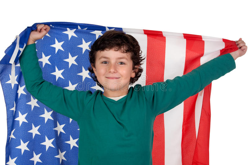 Adorable boy with american flag. Isolated over white royalty free stock photography