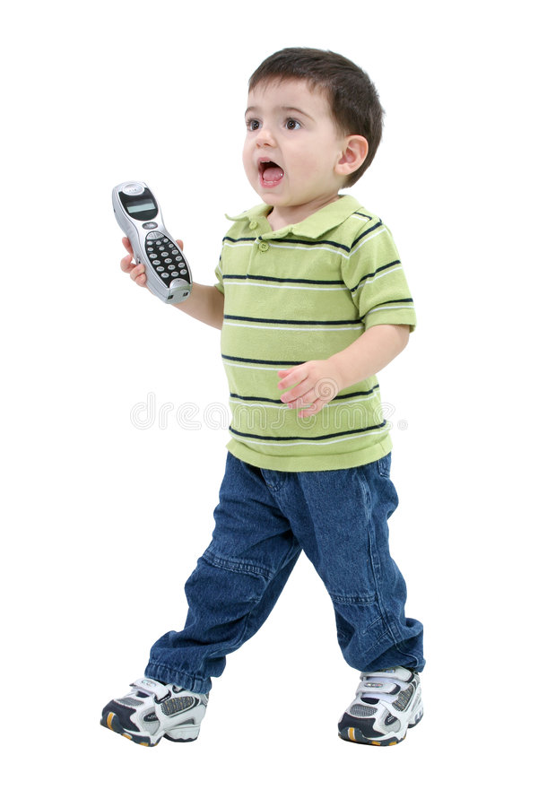 Adorable Boy Bring Phone To Mom Over White royalty free stock images