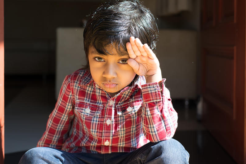 Adorable boy in checked shirt cheerful child happy kid student royalty free stock photos
