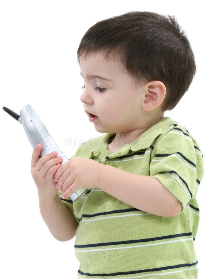 Download Adorable Boy Cordless Over Phone Speaking Toddler White Στοκ Εικόνα - εικόνα: 124449
