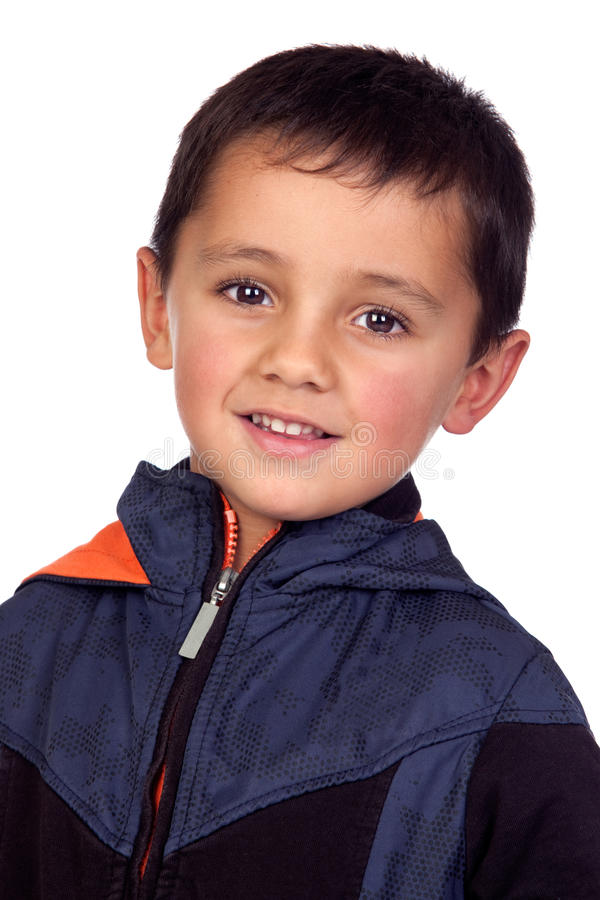 Download Adorable Boy With Dark Eyes Stock Image - Image: 27596951
