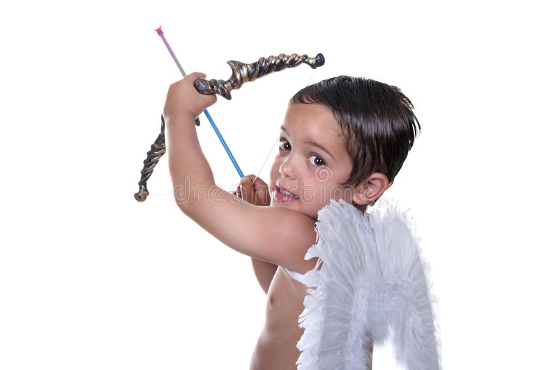 Adorable boy dressed as Cupid royalty free stock photography