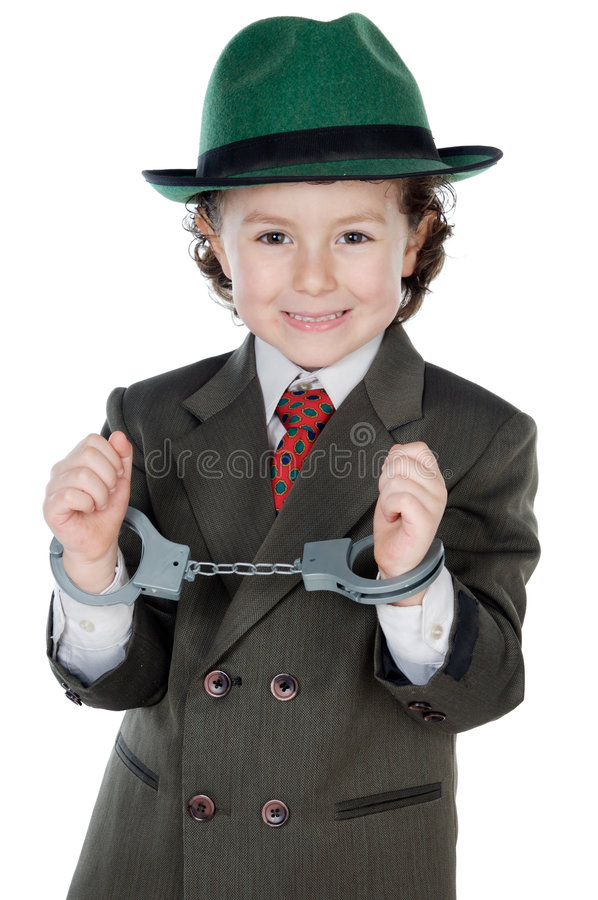 256ae6a9bfa6c Adorable boy dressed gangster. A over white background stock photos