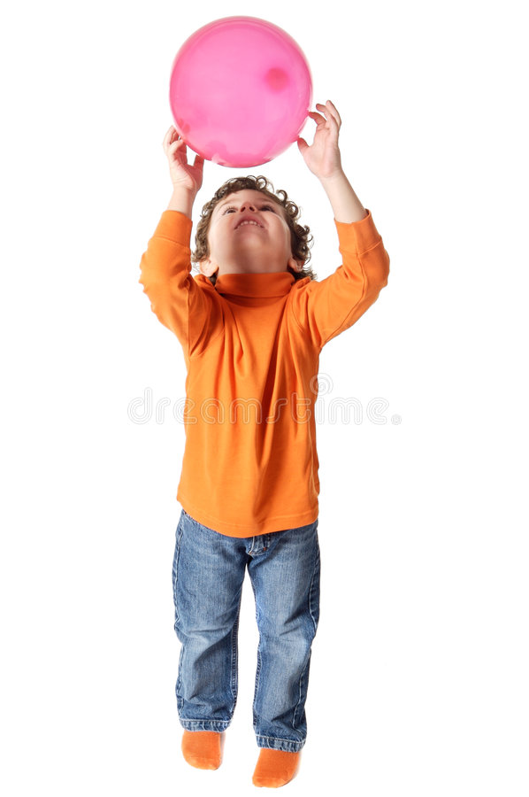 Download Adorable Boy Playing With Balloon Stock Photo - Image: 1719206