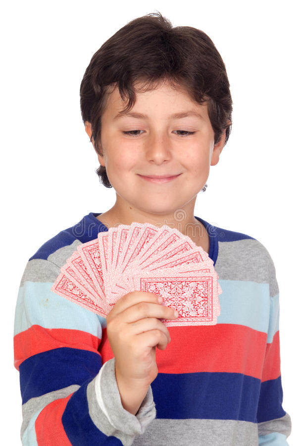 Download Adorable boy playing cards stock image. Image of offspring - 25018945