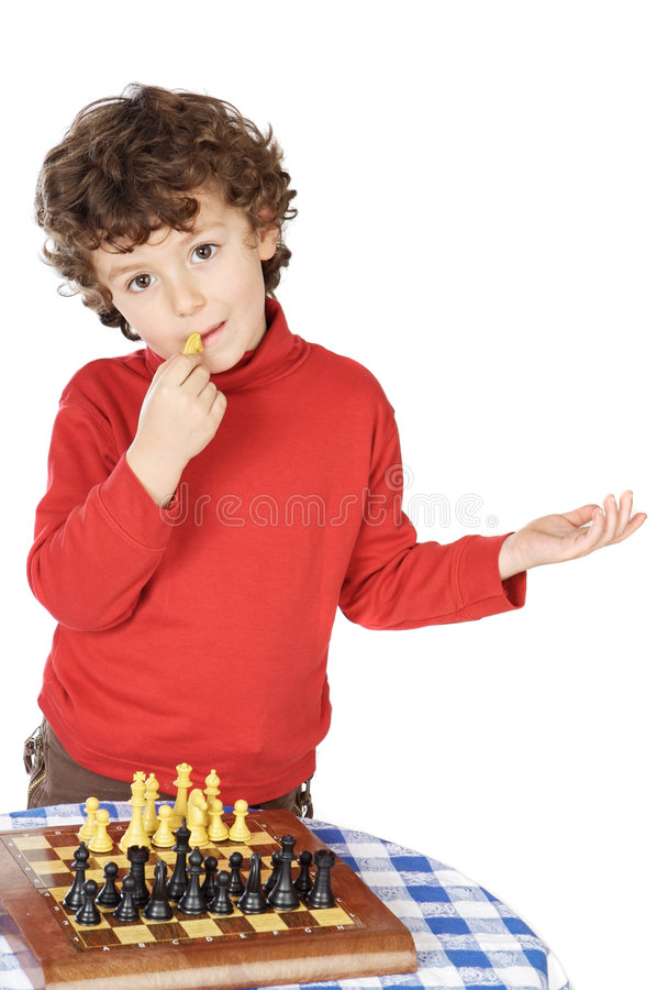 Download Adorable Boy Playing The Chess Stock Image - Image: 1615733