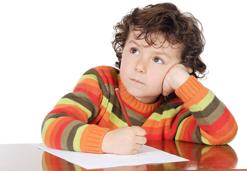 Download Adorable boy studying stock image. Image of learning, sitting - 2160685