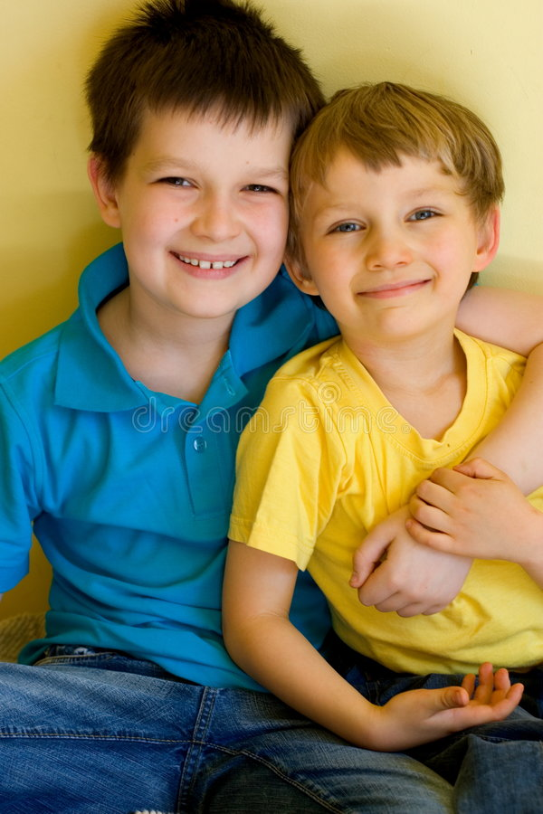 Adorable brothers hugging royalty free stock photos