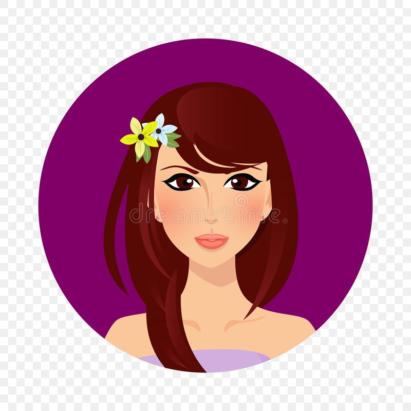 Beautiful brunette girl with hazel eyes and long hair portrait round icon royalty free illustration