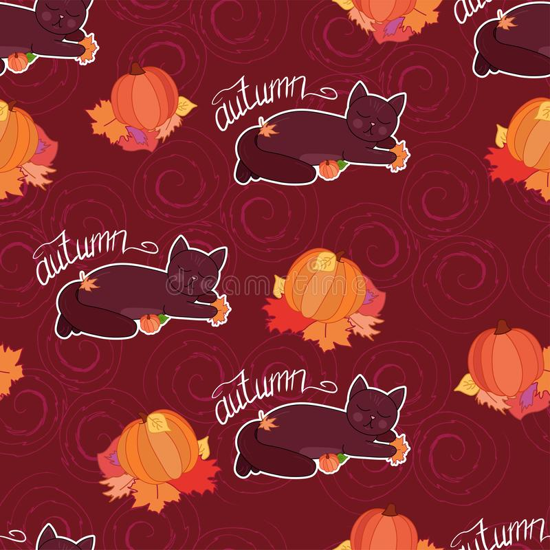 Adorable cartoon cat lay in fall leaves with pumpkin on dark curls background seamless pattern, halloween wrapping paper. Autumn season decoration, greeting stock illustration